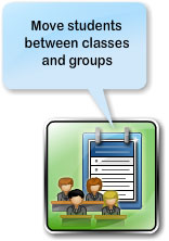 Move students between classes and groups